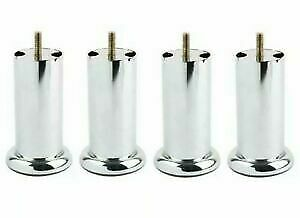 4x METAL CHROME M8 LEGS FURNITURE FEET SOFA BEDS CHAIRS STOOLS CABINET 120mm • 8.49£