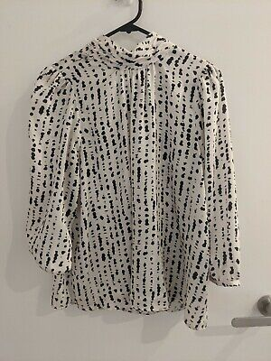 AU15 • Buy Zara White Cream Patterned High Neck Silky Blouse Top S Small 8-10
