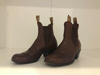 AU60 • Buy RM Williams Chestnut Leather Boots With Cuban Heel Size 7.5