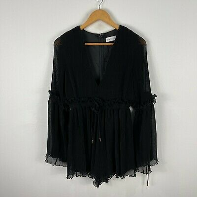 AU69.95 • Buy Alice McCall Chameleon Playsuit Womens 10 Black Pleated Long Sleeve Zip V-Neck