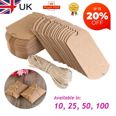 £5.49 • Buy Pillow Gift Boxes, Kraft, Party Favour, Wedding, Sweet Treat, Chocolate, Mint UK
