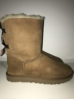 £70 • Buy UGG Bailey Bow Chestnut Boots Uk Size 10.5 Excellent Condition