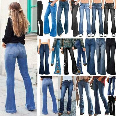 £19.89 • Buy Ladies Flared Jeans Denim Bell Long Pants Lady Skinny Low Rise Bootcut Trousers