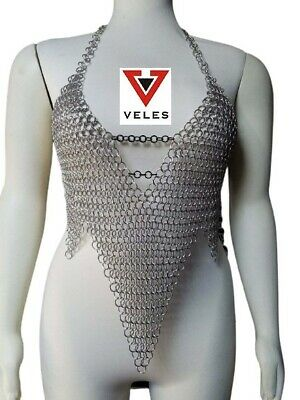 $38.16 • Buy Medieval Chainmail 10 Mm Aluminum Butted Crop Top Hot & Sexy Costume