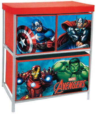 Marvel Avengers Bedroom Cabinet Chest Of 3 Box Drawers Toy Storage 53928 • 17.85£