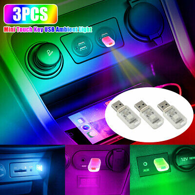 £7.25 • Buy 3x Mini LED USB Car Interior Light Touch Key Atmosphere Ambient Lamp Accessories