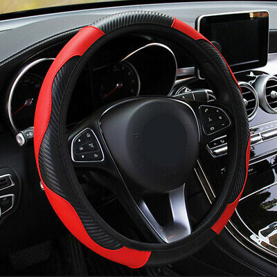 £6.22 • Buy Red Car Microfiber Leather Steering Wheel Cover 38cm/15'' Universal Accessories
