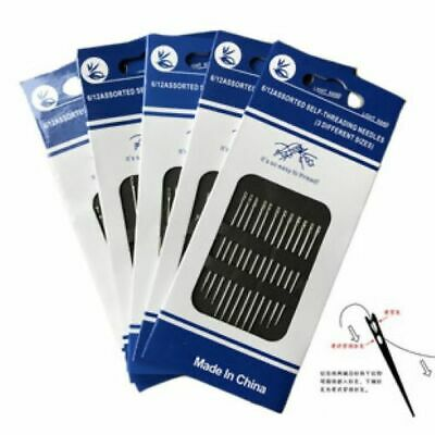 £1.75 • Buy 12 X  Self Threading Sewing Needles Mixed Sizes One Pack Of 12