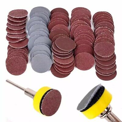 £9.39 • Buy 25mm Mini Sanding Discs Hook&Loop Back 100pcs With Backing Pad With 1/8 Shank