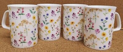£20 • Buy Meadow Flowers Mugs Set Of 4 Fine Bone China Bright Floral Hand Decorated In UK
