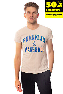 FRANKLIN & MARSHALL T-Shirt Top Size S Coated Inscription Front Crew Neck • 0.99£