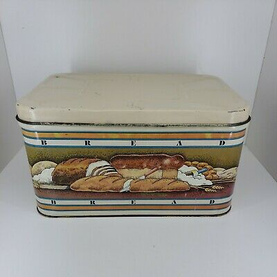 $29.99 • Buy Vintage 1979 Pentron Metal BREAD Box Tin W/ Hinged Lid Loaves Loaf Graphics EUC