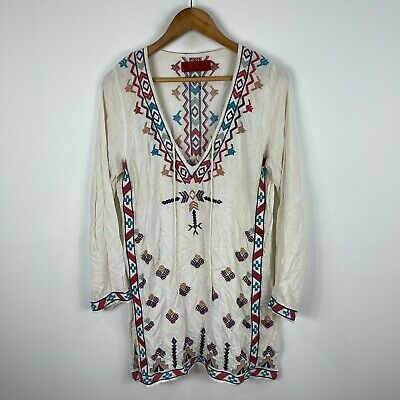 AU24.95 • Buy Tigerlily Womens Tunic Dress 8 White Embroidered Tribal Long Sleeve V-Neck