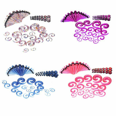 $10.99 • Buy 54PCS Colorful Ear Plugs Gauges Acrylic Glitter Spiral Tapers Stretching 14G-00G