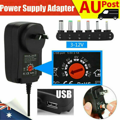 AU9.99 • Buy AU Adjustable Power Supply Adapter Converter AC DC 30W 3V 4.5V 5V 6V 7.5V 9V 12V
