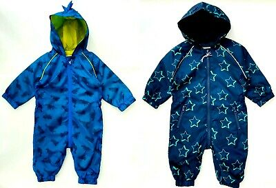 £10.99 • Buy MOTHERCARE Baby Boys Puddlesuit Navy Blue Dinosaurs Lined Pramsuit Rainsuit NEW