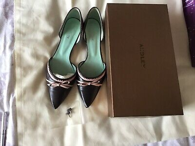 Audley Of London Brown/Pink Kitten Heel Leather Upper And Soles Ladies Shoes Use • 5.99£