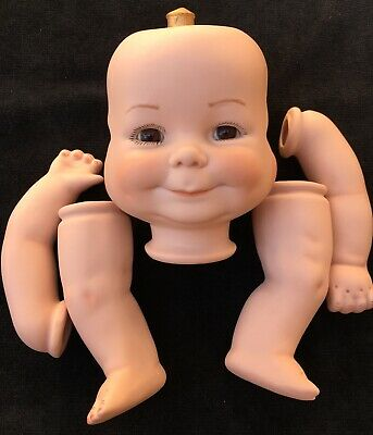 $ CDN36.41 • Buy THREE FACED BISQUE BABY DOLL PARTS Vtg Antique Repro Porcelain Glass Eyes Triple