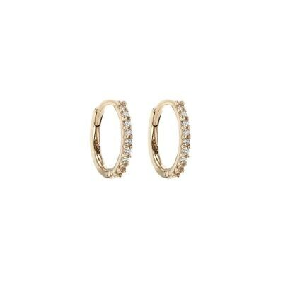 AU550 • Buy SARAH AND SEBASTIAN Diamond Demi Hoops In 18kt Gold. Brand New In Box!