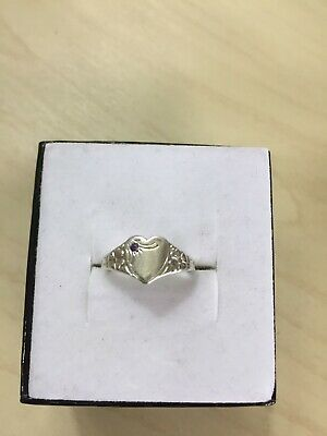 AU35 • Buy Genuine Sterling Silver 925 Blue Stone Heart Signet Ring Band - Size 4