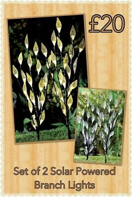 Set Of 2 Solar Powered Branch Lightswith LED Illuminated Leaves Stake In Ground • 5£