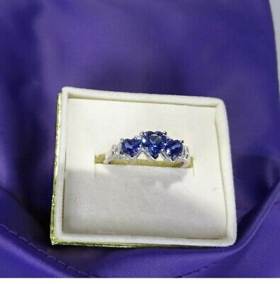 AU150 • Buy 10K White Gold Lab-created Sapphire & Natural Diamond Heart Ring Size 6 3/4