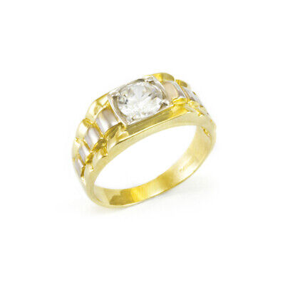 AU471.90 • Buy 9ct Gold Gents Cz Signet Square 2 Colour Cubic Zirconia President Ring Band Box