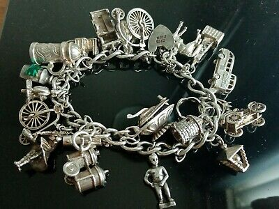 Vintage Solid Silver Charm Bracelet And Solid Silver Charms B O A C Bus Etc.. • 36£