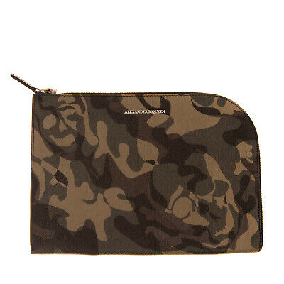 AU53.98 • Buy RRP €225 ALEXANDER MCQUEEN Leather Clutch Bag Camouflage Skull Print Zipped