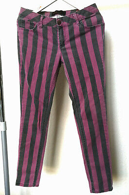 New Look Striped Jeans Purple And Black Washed Yesyes Size 12 • 3.15£