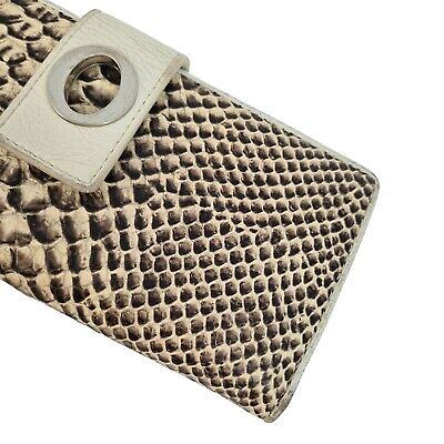 AU29.99 • Buy Oroton Leather Ivory Brown Snake Skin Textured Small Rectangle Thin Wallet Purse