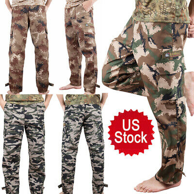 $17.99 • Buy Men Military Cargo Pants Camo Army Casual Combat Workout Loose Trousers 4 Pocket