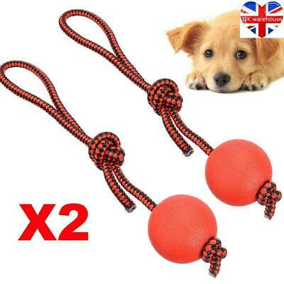 £6.40 • Buy 2x Indestructible Dog Ball On A Rope Puppy Chew Toy Outdoor Training Balls UK