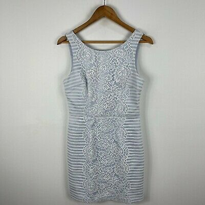 AU24.95 • Buy Forever New Womens Dress 10 Blue White Floral Lace Sleeveless Boat Neck Zip