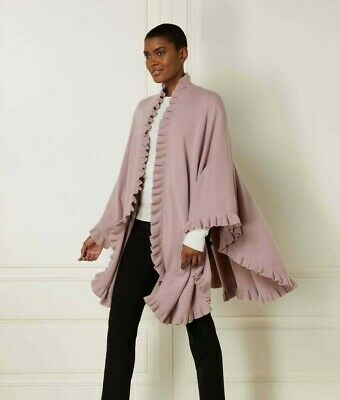N Peal Cashmere Cape Frill Surround Desert Sand Brown Mongolian Ribbed Stitch  • 299£