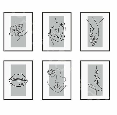 £5.95 • Buy Love Art Print Poster One Line Drawing Home Bedroom Grey Wall Art A3 A4 A5