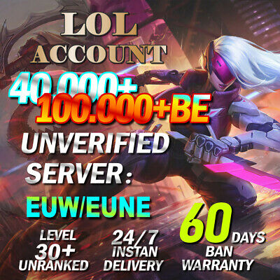 £1.88 • Buy League Of Legends Account EUW EUNE LOL Smurf 40,000-100,000 BE Level 30 Unranked