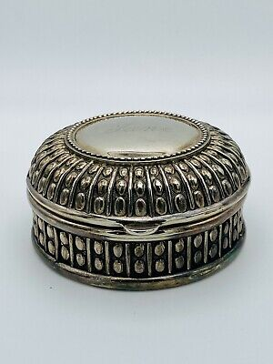 £10.75 • Buy Vintage Silver Jewelry Box Blue Velvet Lined Engraved With  JUNE
