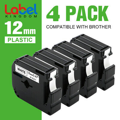 $8.69 • Buy 4PK M-K231 M231 Fit For Brother P-Touch Label Tape 12mm White 1/2  PT-65 PT-85