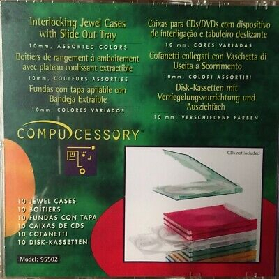 10 Compucessory CD/DVD Interlocking Jewel Cases 10mm Assorted Colours Unused • 9.95£