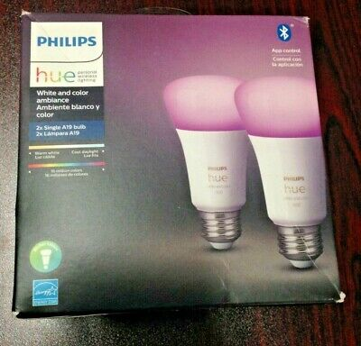 AU94.44 • Buy Philips Hue White And Color Ambience A19 2 Pack Bulbs E26- Open Box