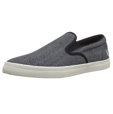 £54.99 • Buy Fred Perry Slip On Mens Canvas Trainers Shoes Plimsolls Navy Blue