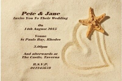 £3.99 • Buy 10 Personalised Beach Wedding Invitations / Thank You Cards