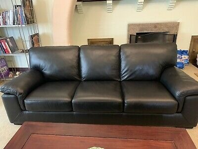 AU266 • Buy Black Leather Couch Sofa 3 Seater. Bay Leather Republic.  Used But Like New