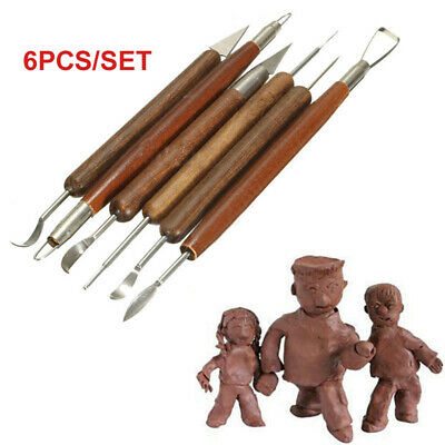 £4.19 • Buy 6pcs Wooden Clay Sculpting Tool Set Polymer Modeling Wax Carving Pottery Shapers