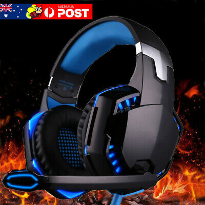 AU27.99 • Buy Gaming Headset MIC LED Headphones Surround For PC Mac Laptop PS4 Xbox One Blue