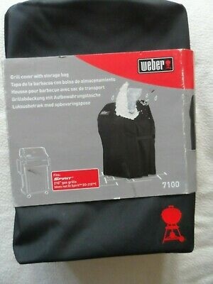 $ CDN86.34 • Buy Weber 7100 Premium Grill BBQ Cover Spirit 210 Black With Storage Bag NEW