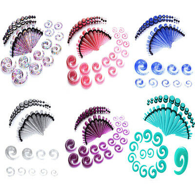 $15.99 • Buy 54PCS Acrylic Kit Glitter Spiral Tapers Plugs Expander Stretching Set 14G-00G