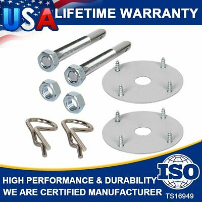 $10.74 • Buy 1016 Steel Silver Chrome Mount Hood And Deck Pin Pins Lock Clip Kit Universal US