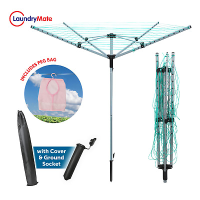 £39.95 • Buy Rotary Airer 4 Arm Clothes Garden Washing Line Dryer 45M Folding Outdoor Spike